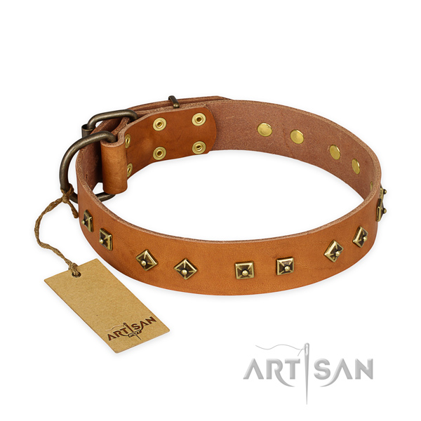 Embellished genuine leather dog collar with corrosion resistant traditional buckle