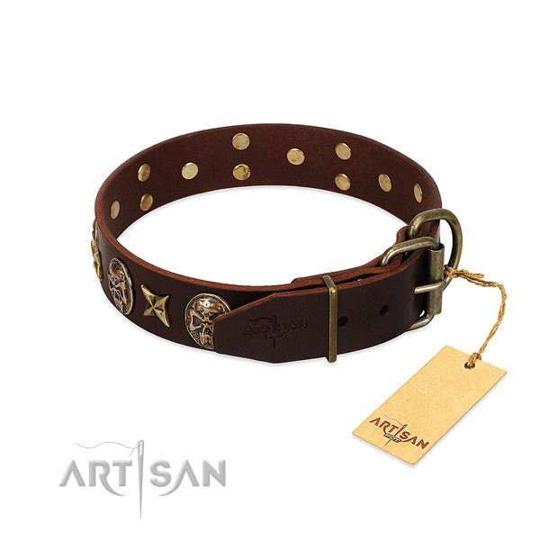 Full grain genuine leather dog collar with corrosion resistant hardware and studs