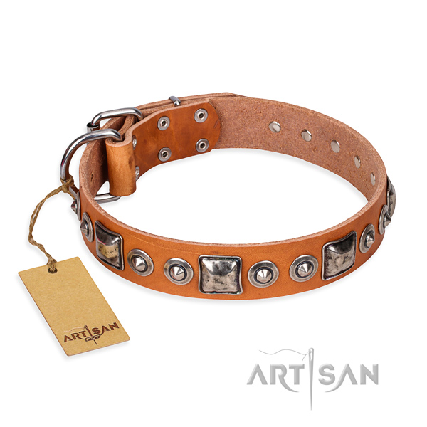 Leather dog collar made of flexible material with durable traditional buckle