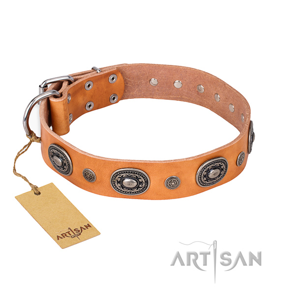 Quality full grain natural leather collar handcrafted for your dog