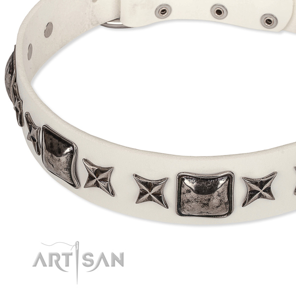 Easy wearing studded dog collar of best quality full grain natural leather