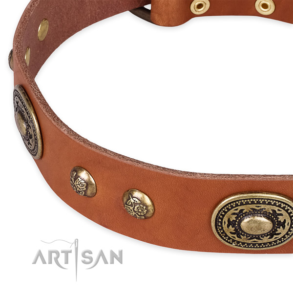 Handmade genuine leather collar for your attractive dog