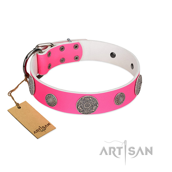 Extraordinary embellished leather dog collar