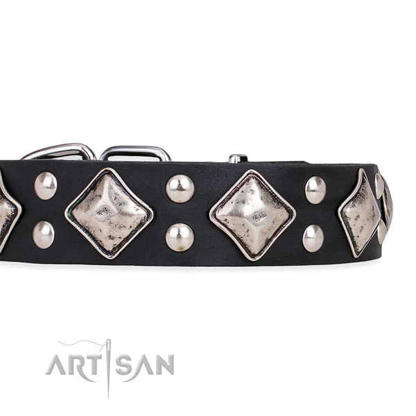 Genuine leather dog collar with top notch reliable studs