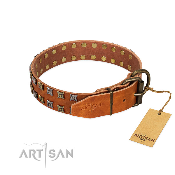 Gentle to touch full grain genuine leather dog collar made for your doggie
