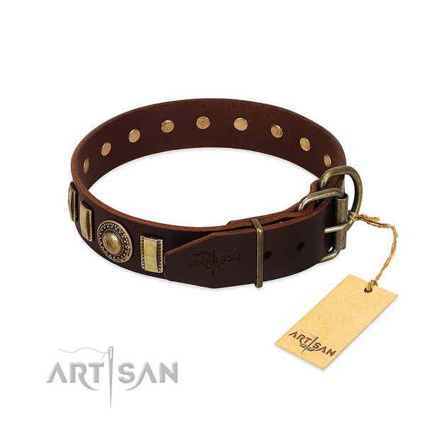 Fashionable leather dog collar with rust-proof D-ring
