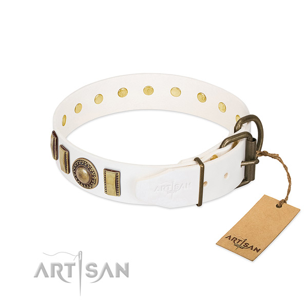 Top rate full grain genuine leather dog collar crafted for your doggie