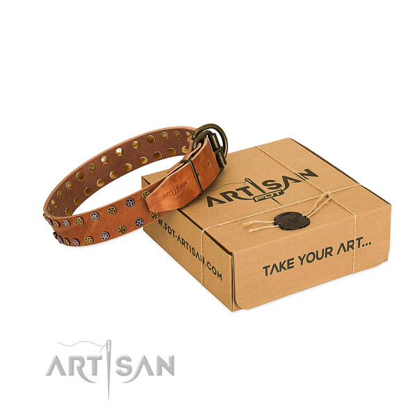 Stylish walking soft to touch natural leather dog collar with decorations