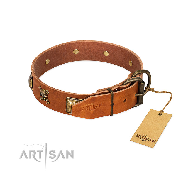 Inimitable full grain genuine leather dog collar with corrosion resistant decorations