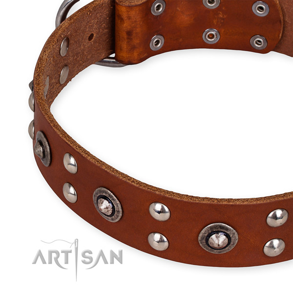Genuine leather collar with corrosion proof buckle for your handsome doggie