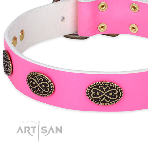 Genuine leather dog collar with decorations for everyday use