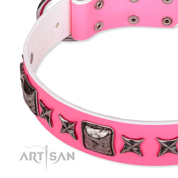 Basic training adorned dog collar of fine quality full grain natural leather