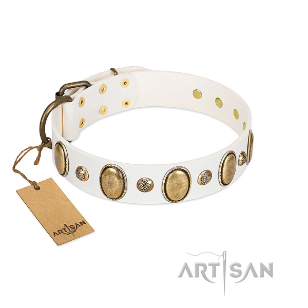 Full grain genuine leather dog collar of soft to touch material with exceptional embellishments