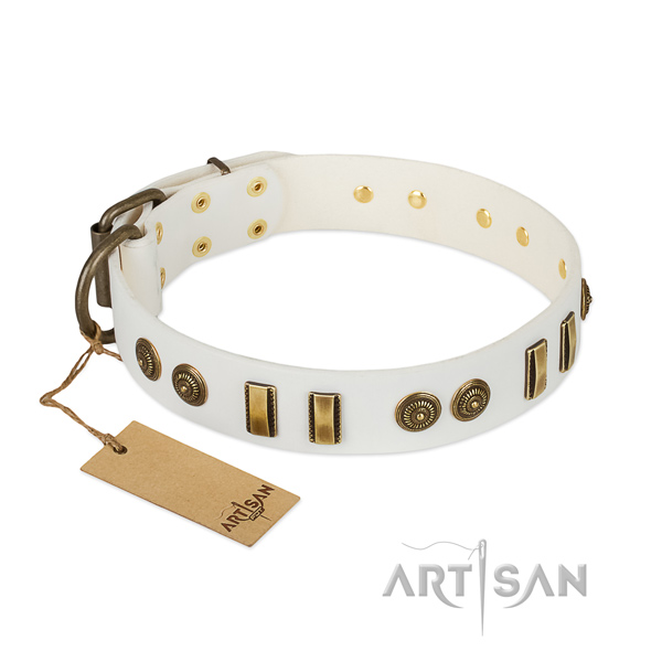 Corrosion proof fittings on full grain leather dog collar for your canine
