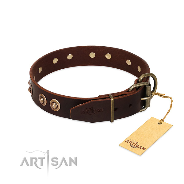 Corrosion resistant D-ring on full grain leather dog collar for your pet