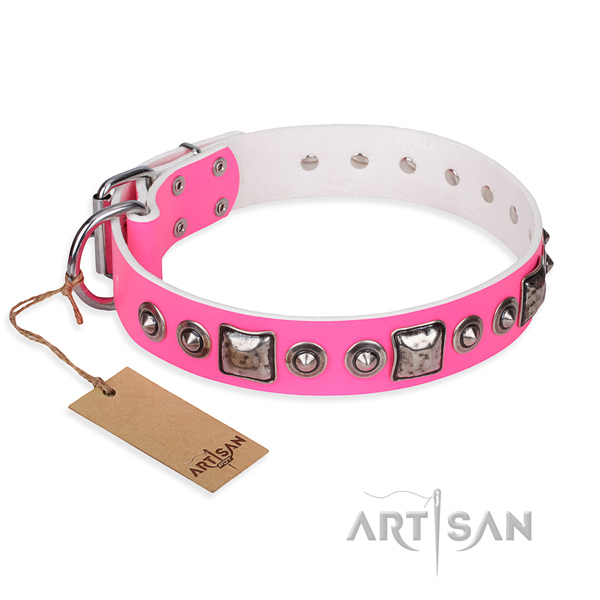 Genuine leather dog collar made of soft material with strong fittings