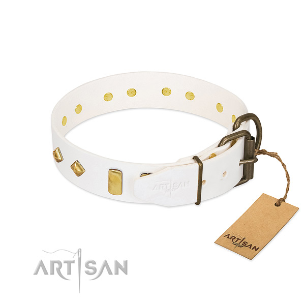 High quality leather dog collar with corrosion proof buckle