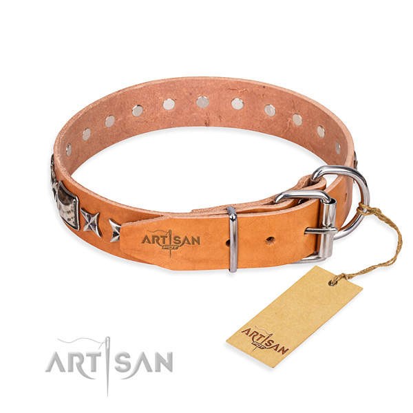High quality decorated dog collar of natural leather