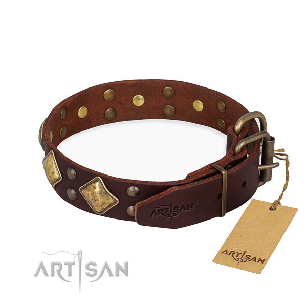 Genuine leather dog collar with exquisite strong adornments
