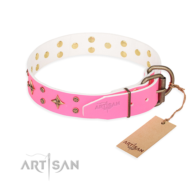 Comfy wearing adorned dog collar of fine quality leather