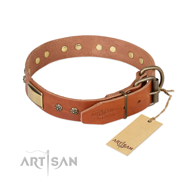 Leather dog collar with rust-proof traditional buckle and decorations