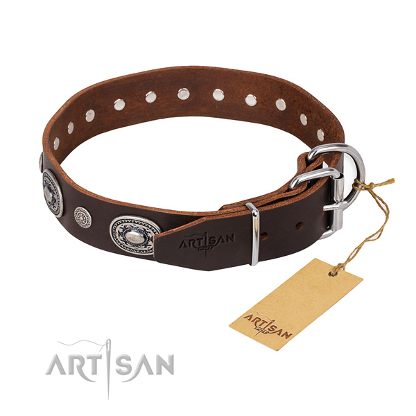 Flexible full grain genuine leather dog collar crafted for basic training