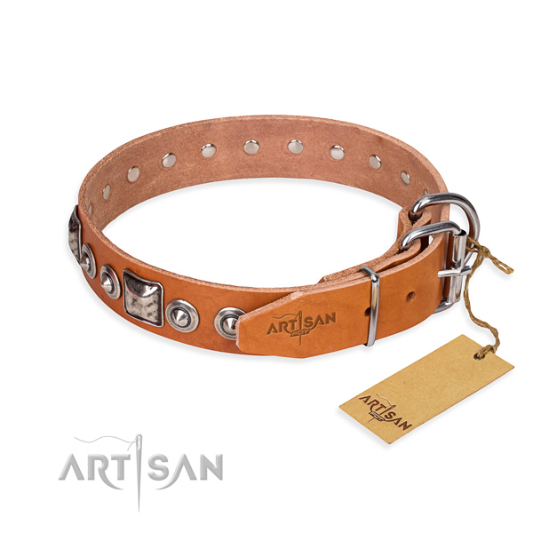 Genuine leather dog collar made of soft to touch material with corrosion proof studs