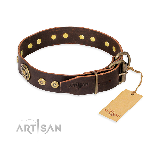 Full grain leather dog collar made of reliable material with durable studs