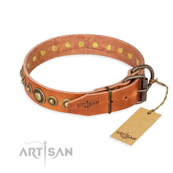 Soft to touch full grain leather dog collar created for comfy wearing