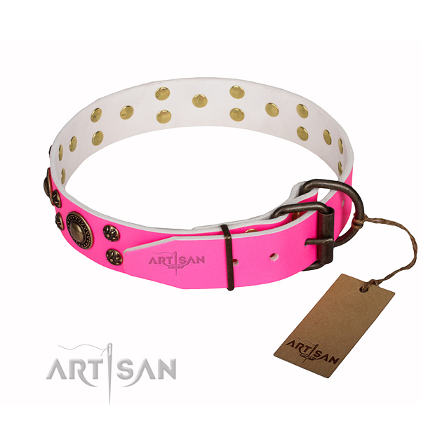 Easy wearing adorned dog collar of quality full grain genuine leather