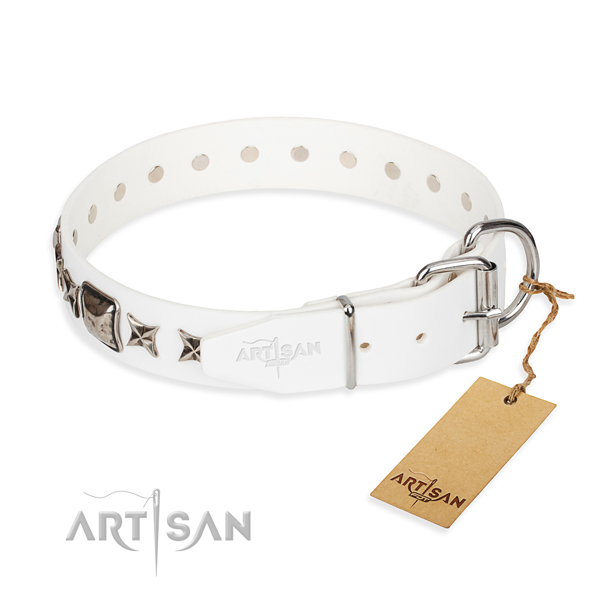 Fine quality studded dog collar of full grain natural leather