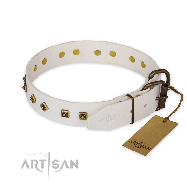 Corrosion resistant hardware on genuine leather collar for stylish walking your canine