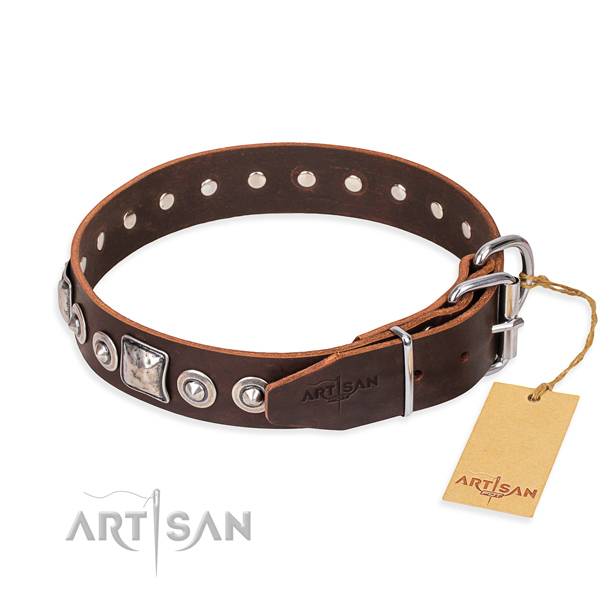 Full grain leather dog collar made of soft material with rust-proof adornments
