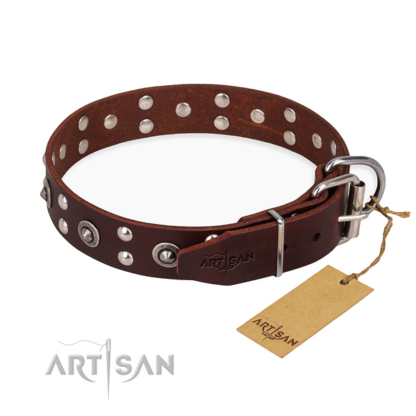 Reliable D-ring on full grain genuine leather collar for your stylish four-legged friend
