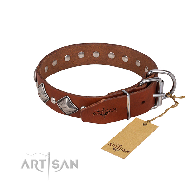 Handy use studded dog collar of reliable natural leather