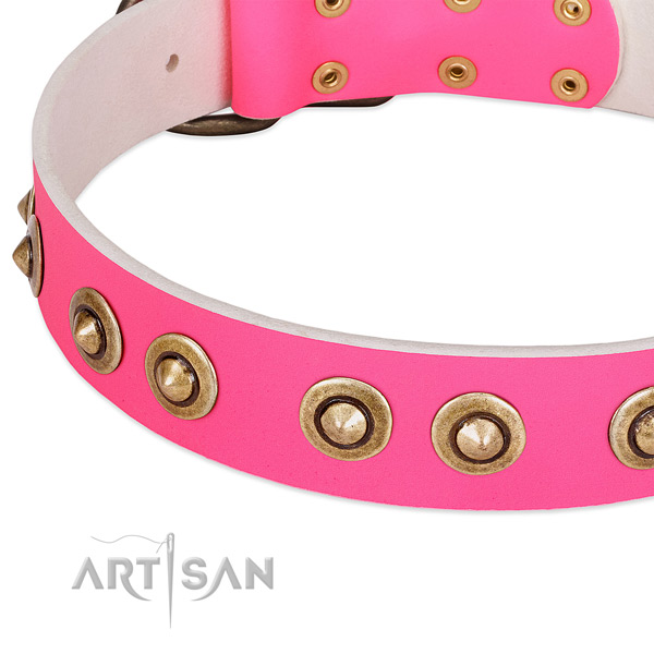 Corrosion resistant D-ring on natural genuine leather dog collar for your doggie