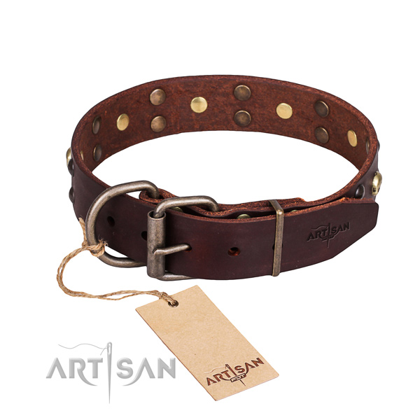 Basic training decorated dog collar of strong genuine leather