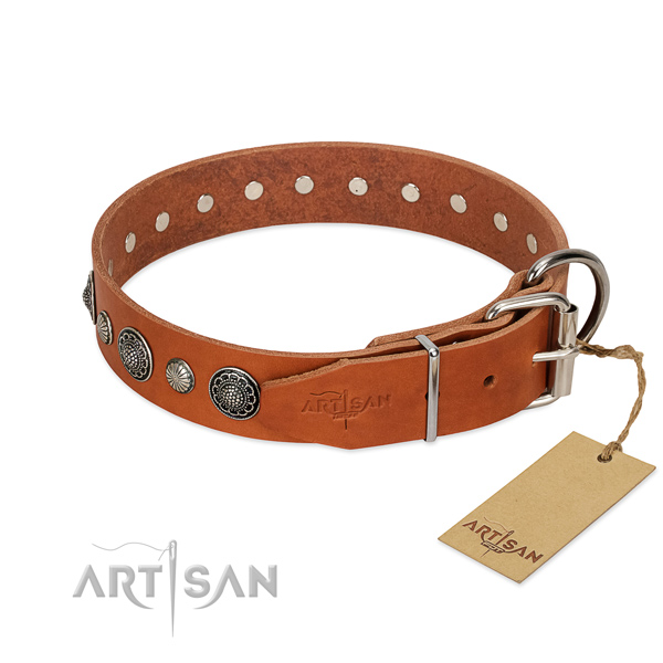 Best quality natural leather dog collar with corrosion proof fittings
