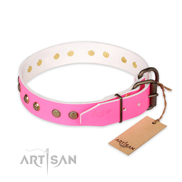 Reliable D-ring on full grain natural leather collar for your stylish canine
