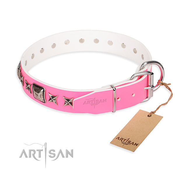 High quality decorated dog collar of genuine leather