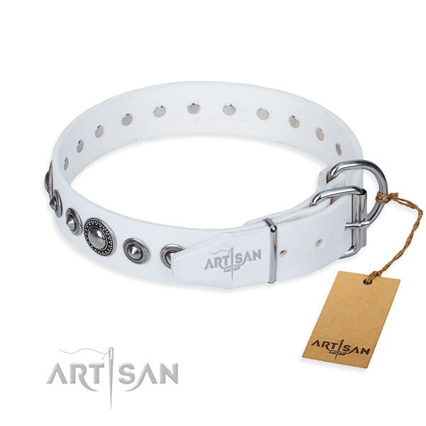 Leather dog collar made of soft to touch material with corrosion resistant embellishments