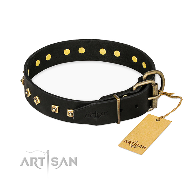 Rust-proof hardware on genuine leather collar for fancy walking your doggie