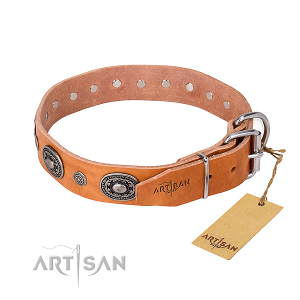 Top rate full grain leather dog collar handcrafted for everyday use