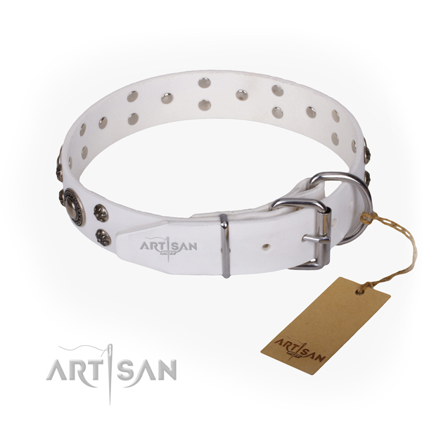 Daily walking decorated dog collar of top quality full grain genuine leather