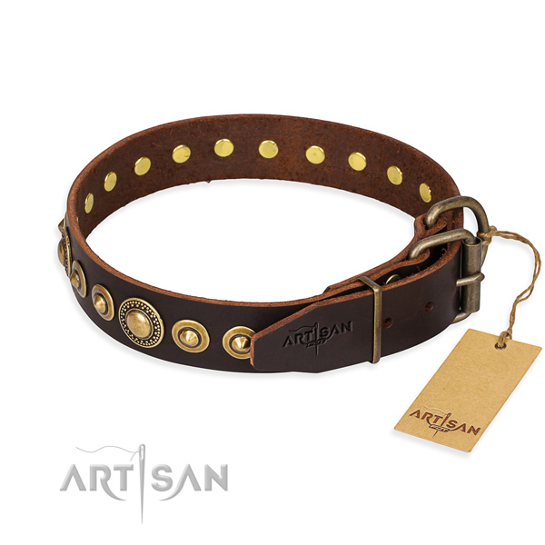 Strong genuine leather dog collar handmade for everyday use