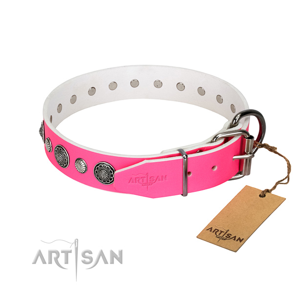 Gentle to touch Full grain natural leather dog collar with corrosion proof fittings