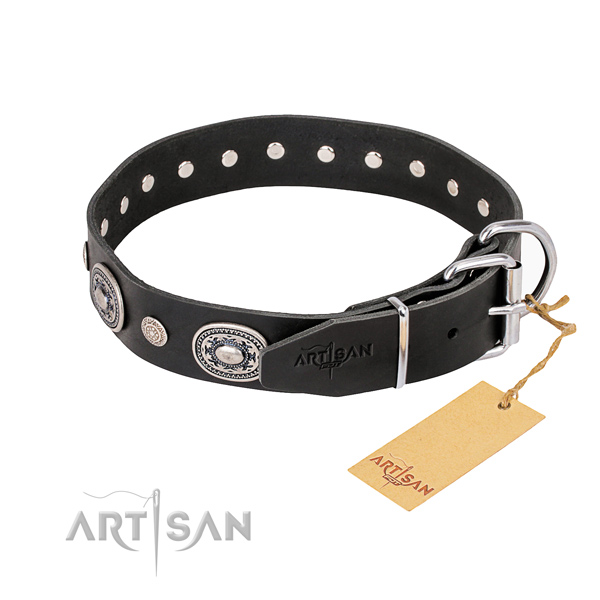 Reliable full grain natural leather dog collar crafted for comfortable wearing