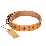 """Top-Flight"" FDT Artisan Adorned Tan Leather Bullmastiff Collar"