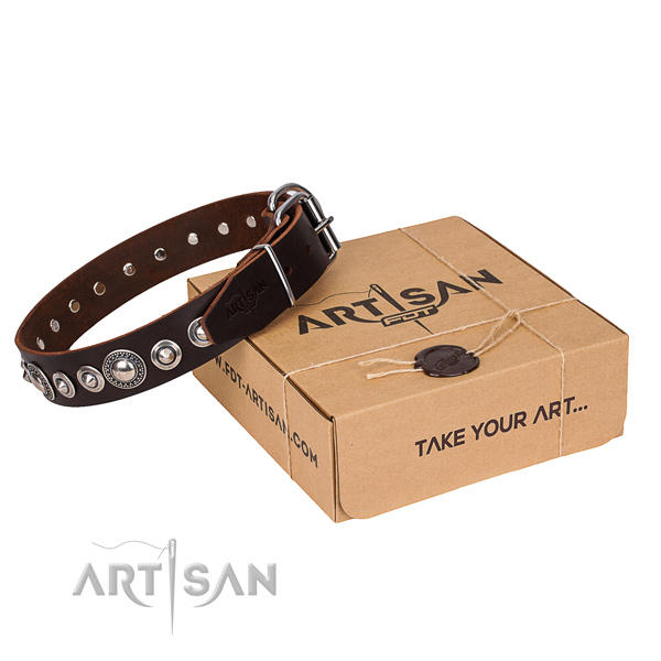 Top notch genuine leather dog collar