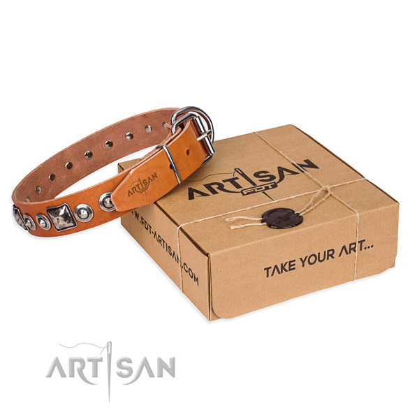 Full grain leather dog collar made of reliable material with rust resistant D-ring